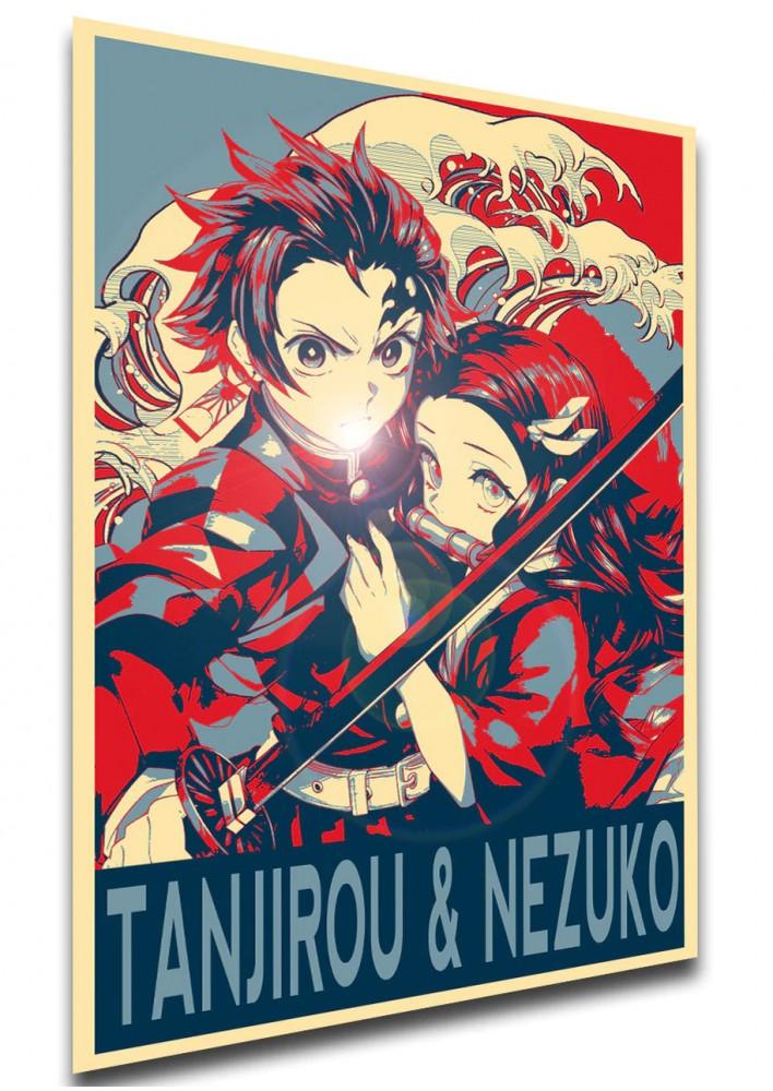 Affiche Demon Slayer - Tanjirou & Nezuko Propaganda - Poster ou Cadre