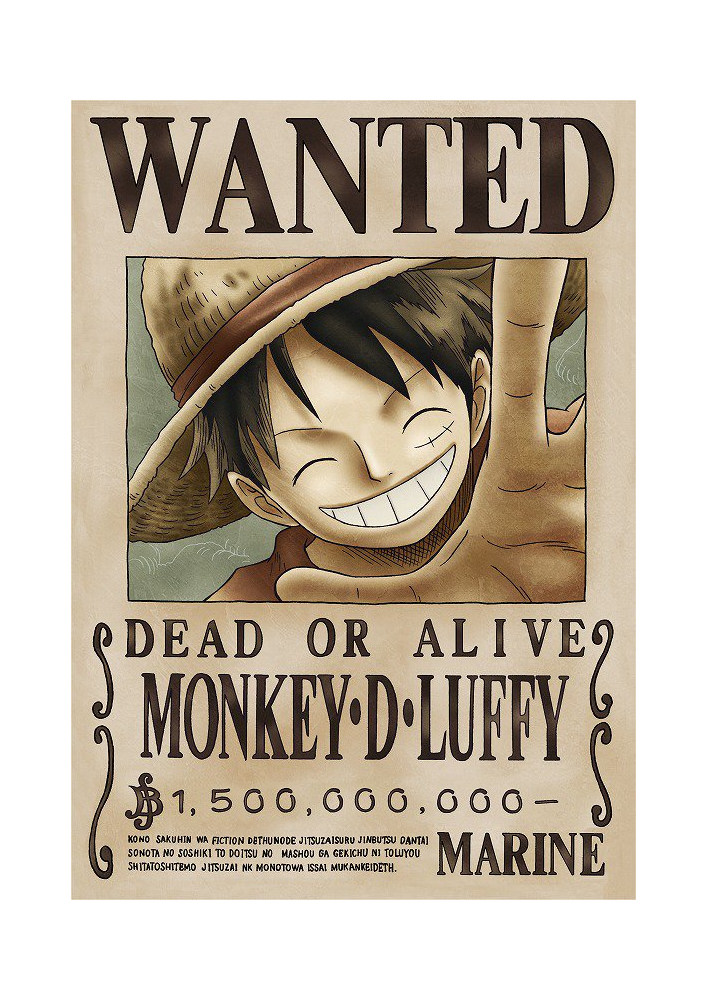 Affiche Monkey D Luffy Dead Or Alive Wanted - Poster ou Cadre
